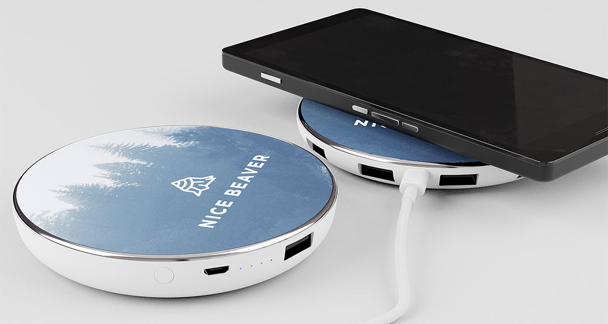 Trådløs oplader/powerbank med Qi teknologi branded med logo og billede